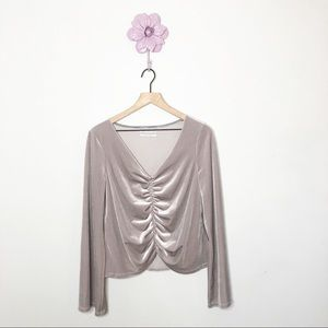 Urban Outfitters Tan Velour Slouch Front Blouse